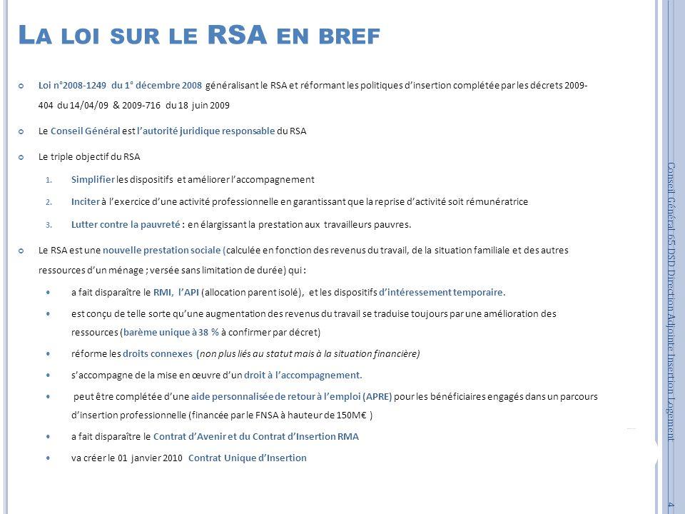 La loi sur le RSA en bref