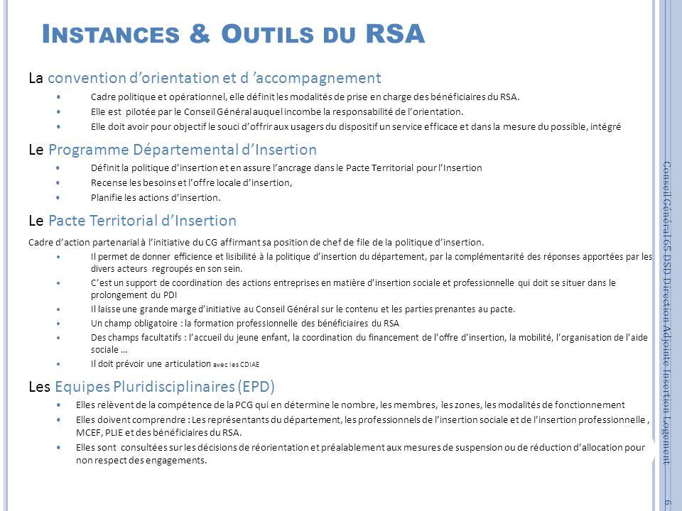 Instances & Outils du RSA