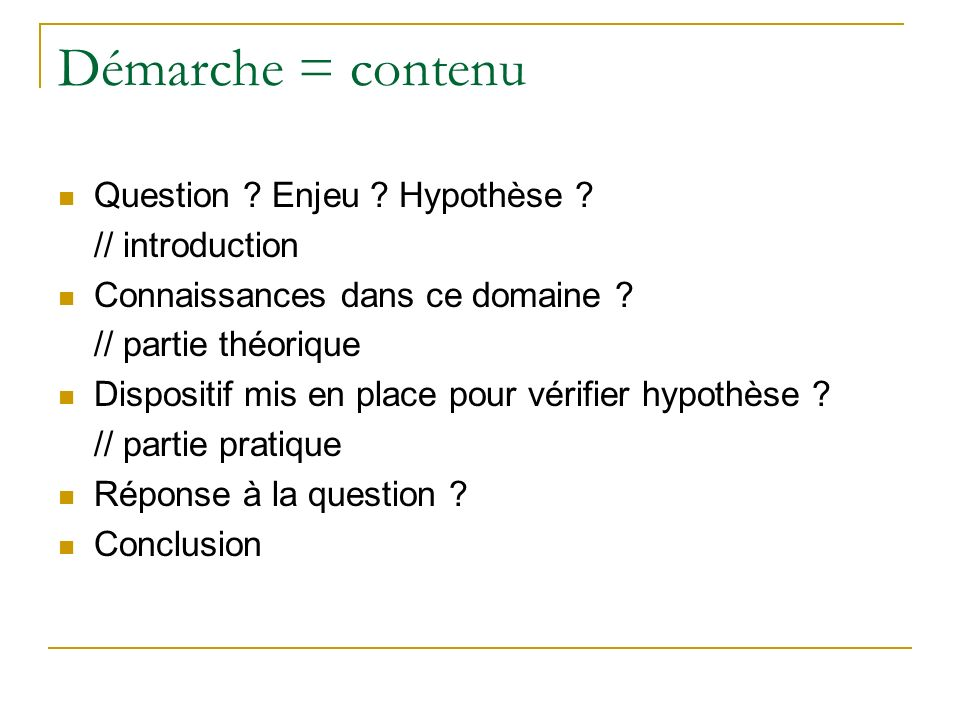 Démarche = contenu Question Enjeu Hypothèse // introduction