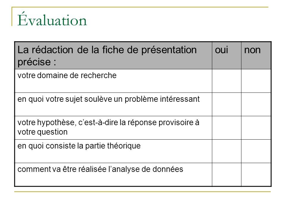 Évaluation La rédaction de la fiche de présentation précise : oui non