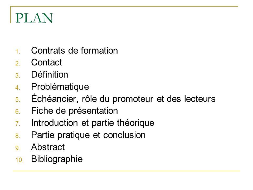 PLAN Contrats de formation Contact Définition Problématique