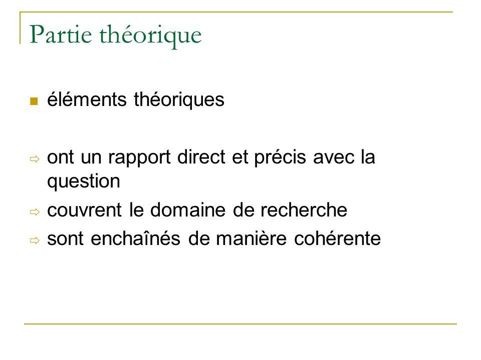 Partie théorique éléments théoriques