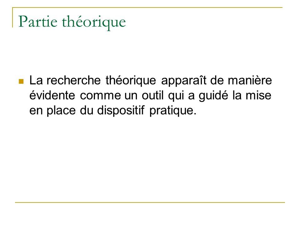 Partie théorique La recherche théorique apparaît de manière évidente comme un outil qui a guidé la mise en place du dispositif pratique.