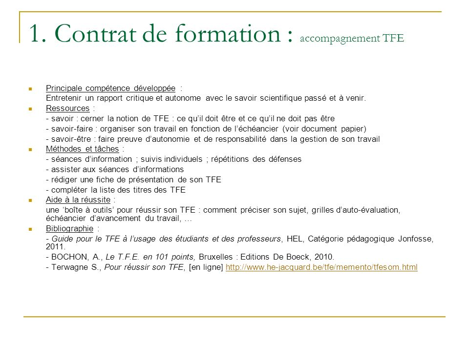 1. Contrat de formation : accompagnement TFE