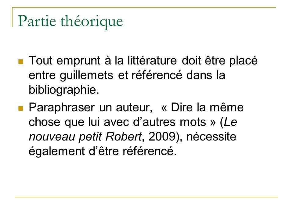 Partie théorique Tout emprunt à la littérature doit être placé entre guillemets et référencé dans la bibliographie.