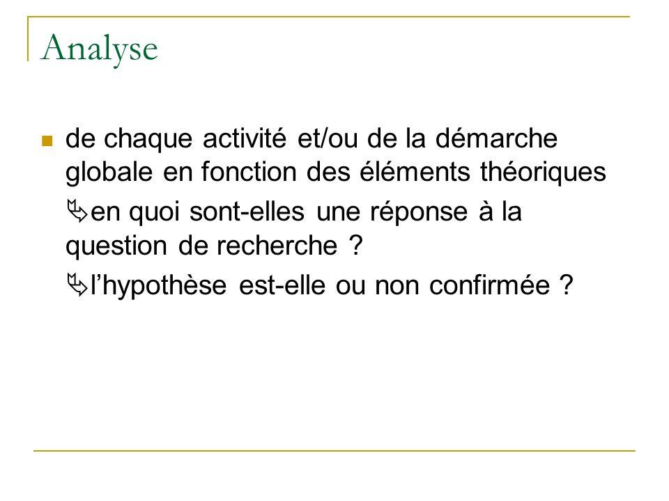 Analyse de chaque activité et/ou de la démarche globale en fonction des éléments théoriques.