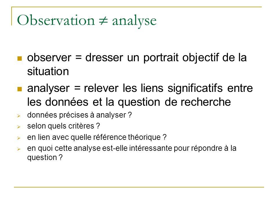 Observation  analyse observer = dresser un portrait objectif de la situation.