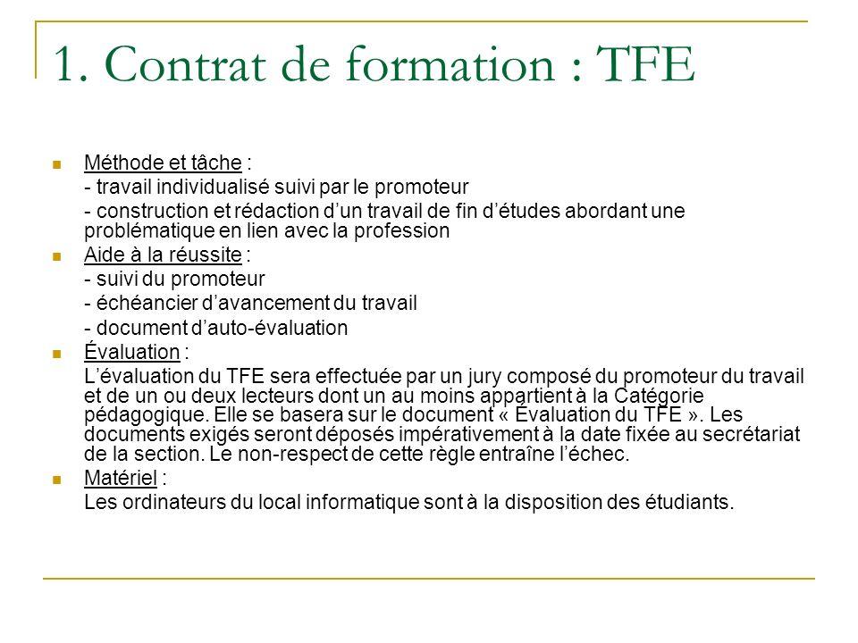 1. Contrat de formation : TFE