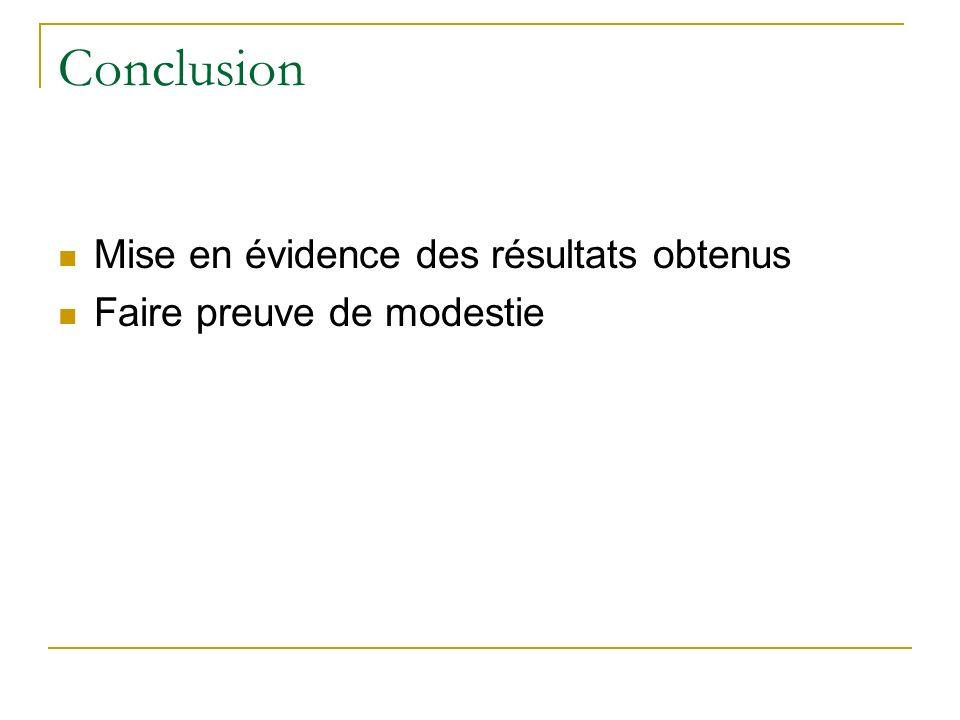 Conclusion Mise en évidence des résultats obtenus