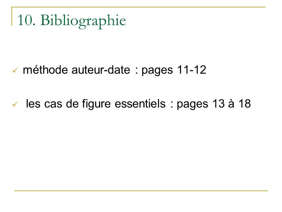 10. Bibliographie méthode auteur-date : pages 11-12