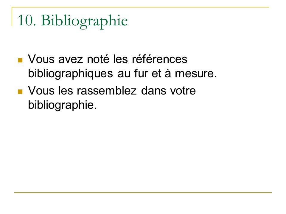 10. Bibliographie Vous avez noté les références bibliographiques au fur et à mesure.