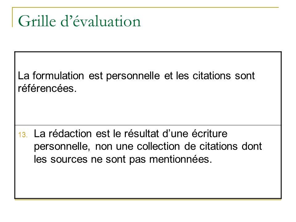 Grille d'évaluation La formulation est personnelle et les citations sont référencées.