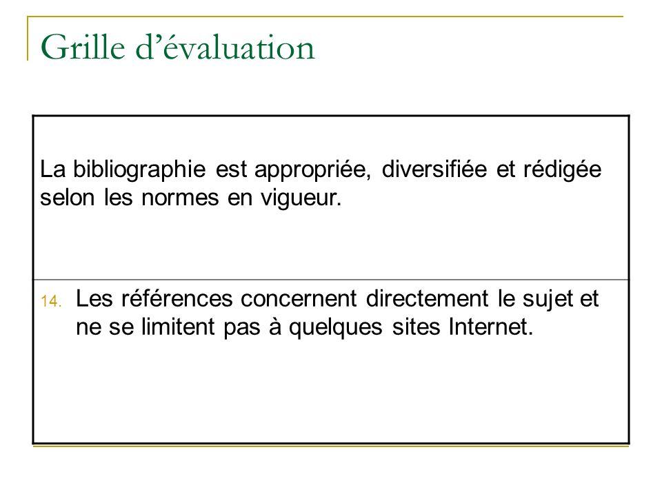 Grille d'évaluation La bibliographie est appropriée, diversifiée et rédigée selon les normes en vigueur.