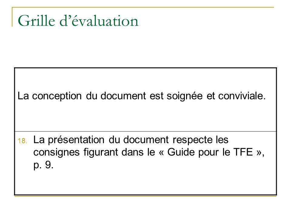 Grille d'évaluation La conception du document est soignée et conviviale.