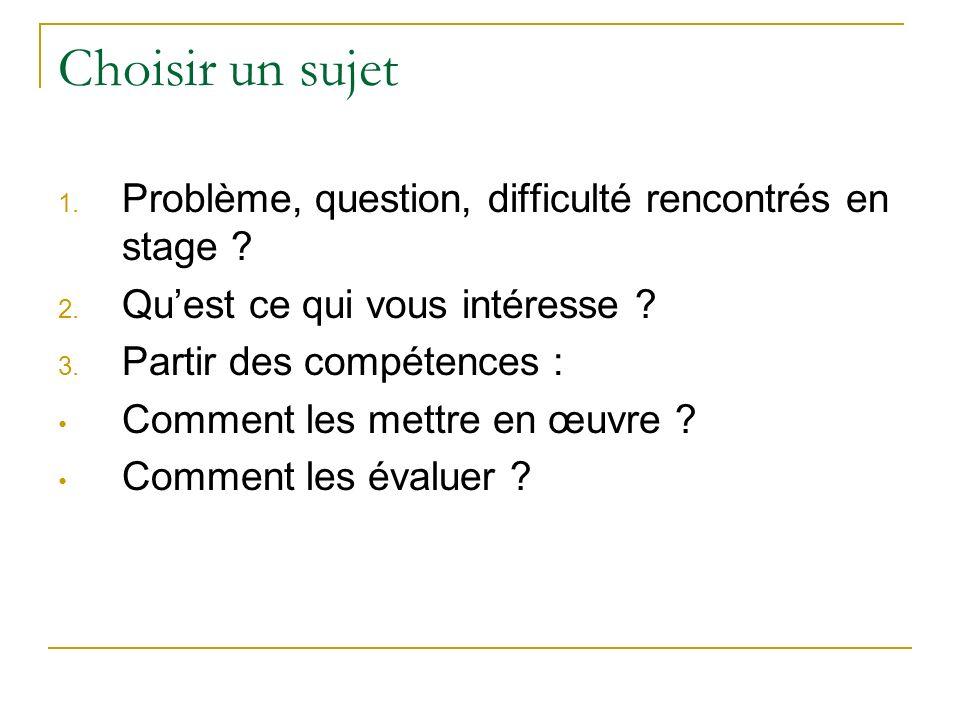 Choisir un sujet Problème, question, difficulté rencontrés en stage