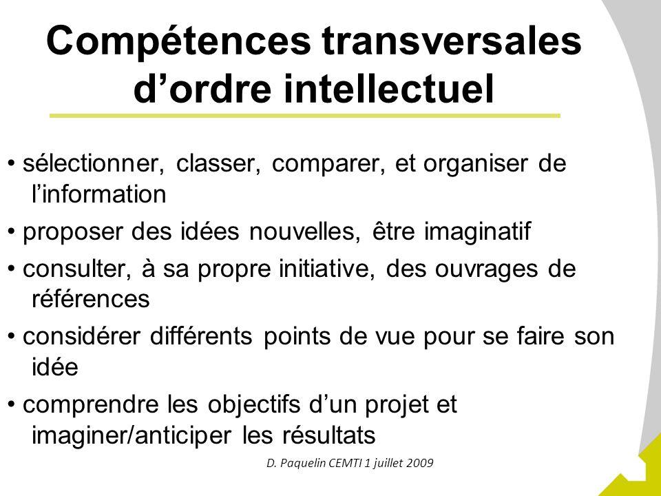 Compétences transversales d'ordre intellectuel
