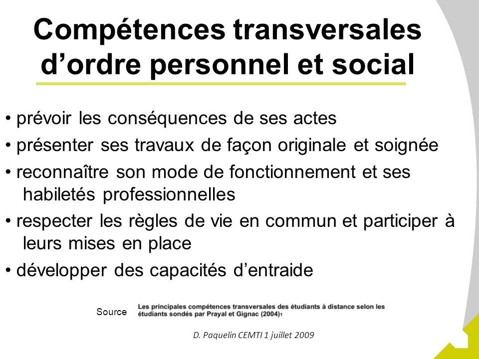 Compétences transversales d'ordre personnel et social