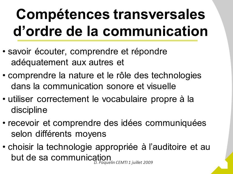 Compétences transversales d'ordre de la communication