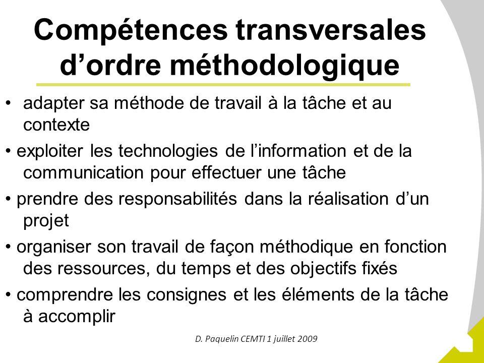 Compétences transversales d'ordre méthodologique