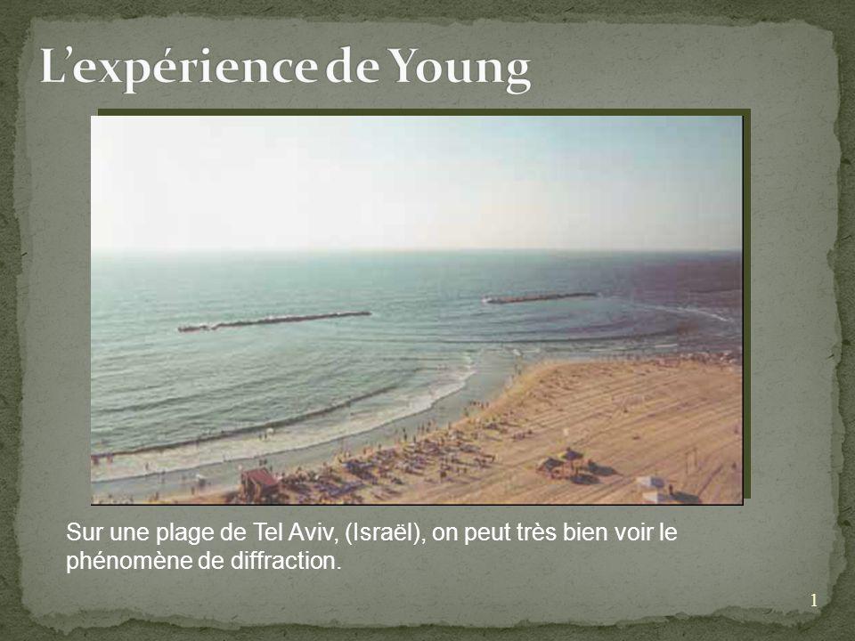 L'expérience de Young Sur une plage de Tel Aviv, (Israël), on peut très bien voir le phénomène de diffraction.
