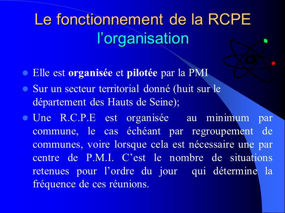 Le fonctionnement de la RCPE l'organisation