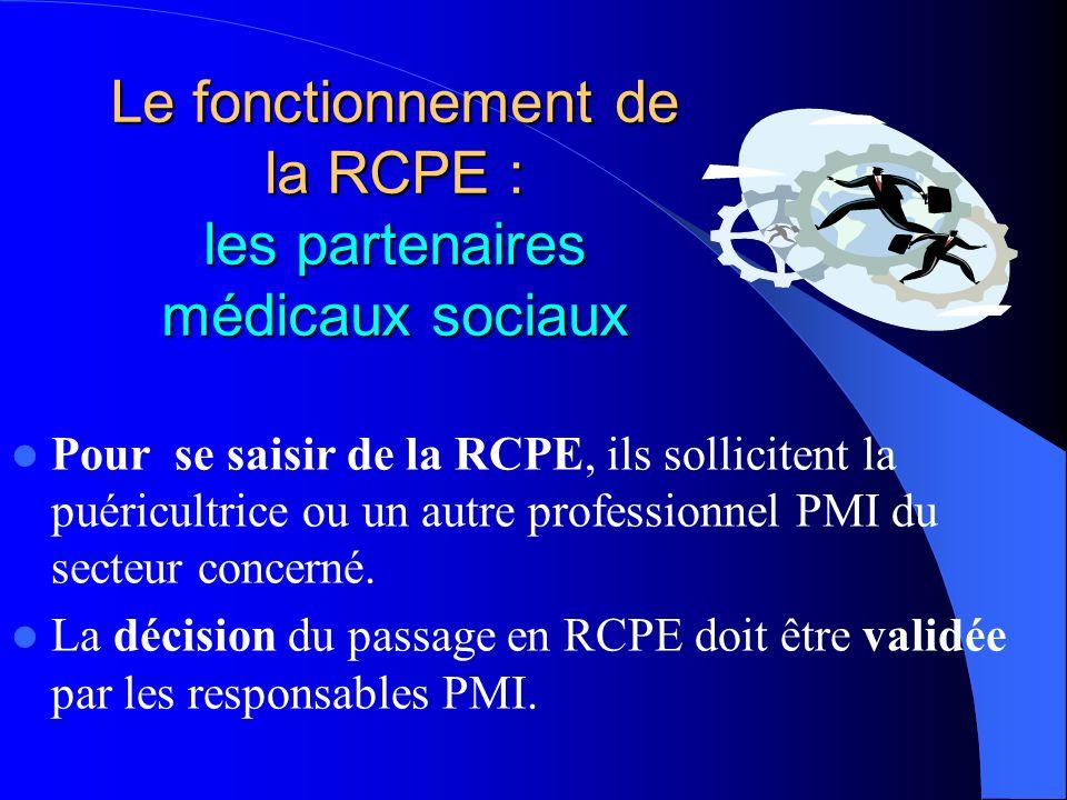 Le fonctionnement de la RCPE : les partenaires médicaux sociaux