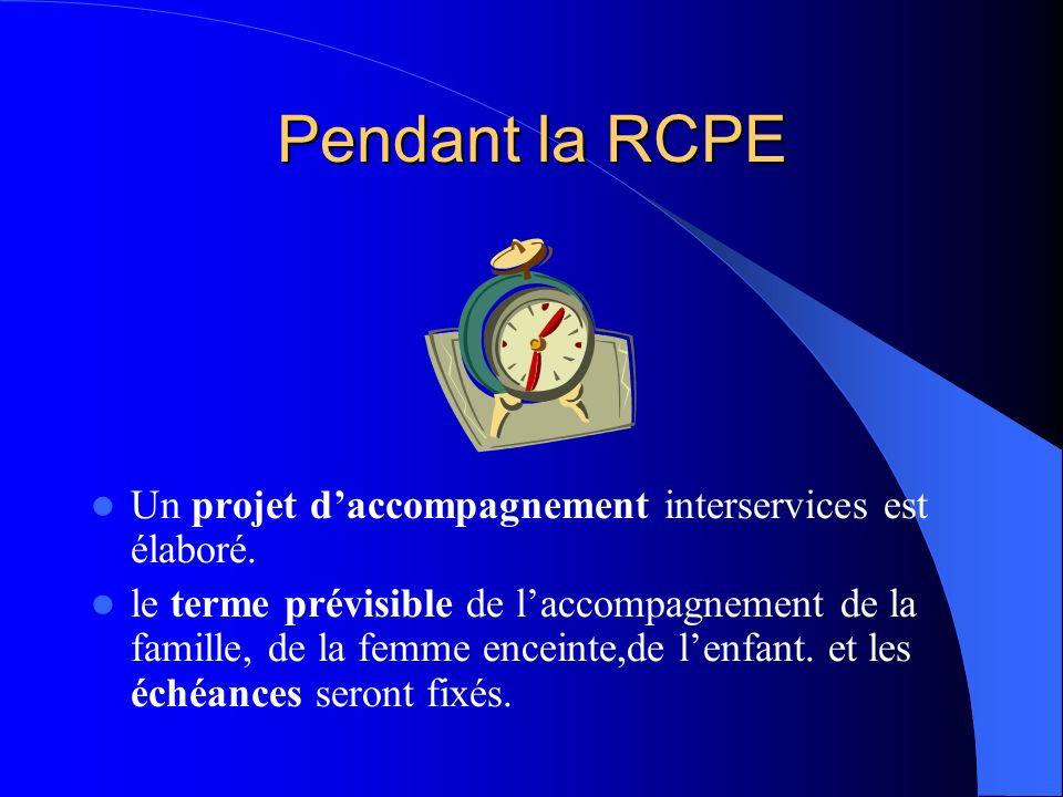 Pendant la RCPE Un projet d'accompagnement interservices est élaboré.