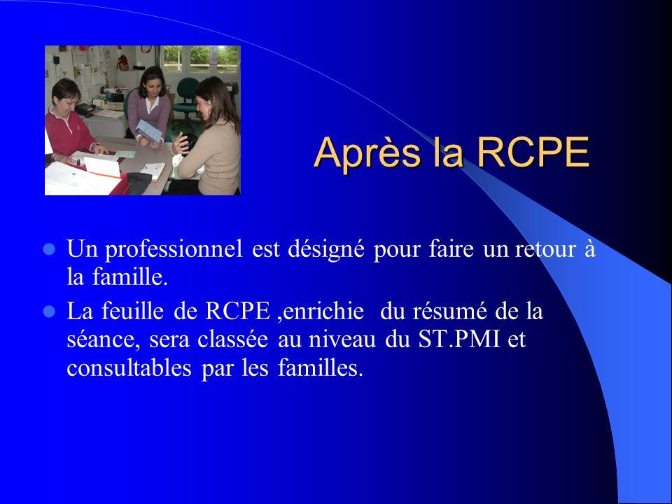 Après la RCPE Un professionnel est désigné pour faire un retour à la famille.
