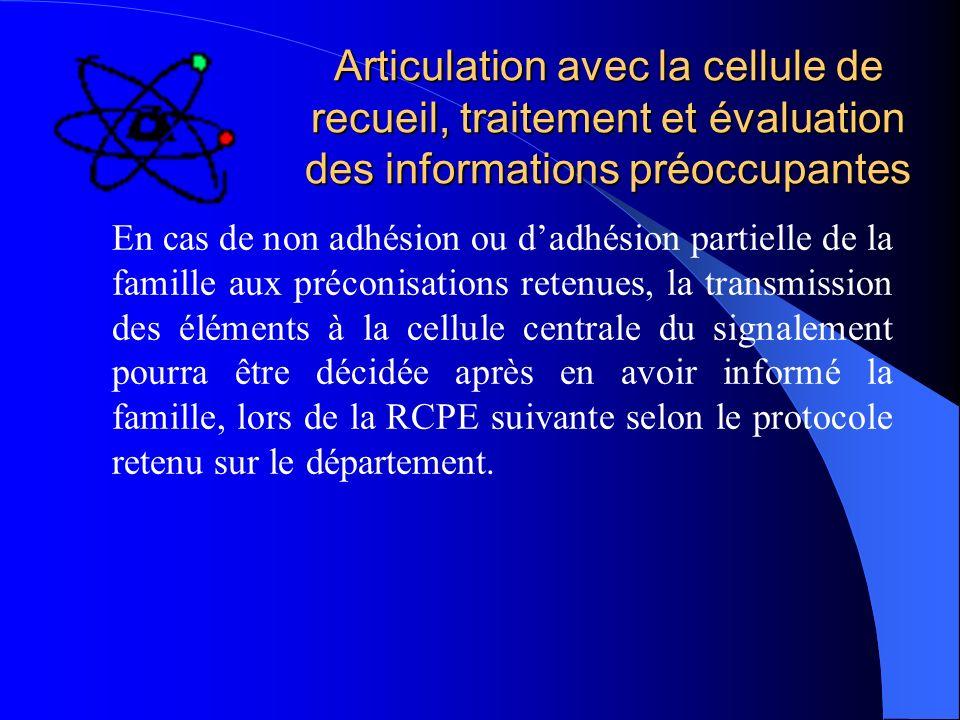 Articulation avec la cellule de recueil, traitement et évaluation des informations préoccupantes