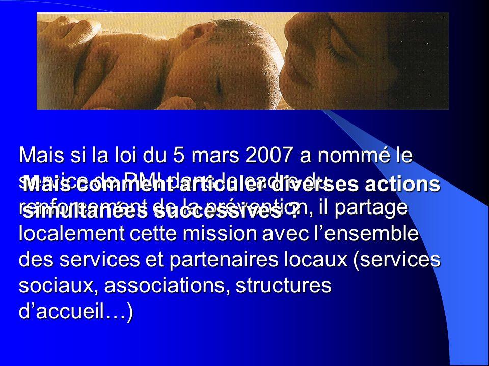 Mais si la loi du 5 mars 2007 a nommé le service de PMI dans le cadre du renforcement de la prévention, il partage localement cette mission avec l'ensemble des services et partenaires locaux (services sociaux, associations, structures d'accueil…)