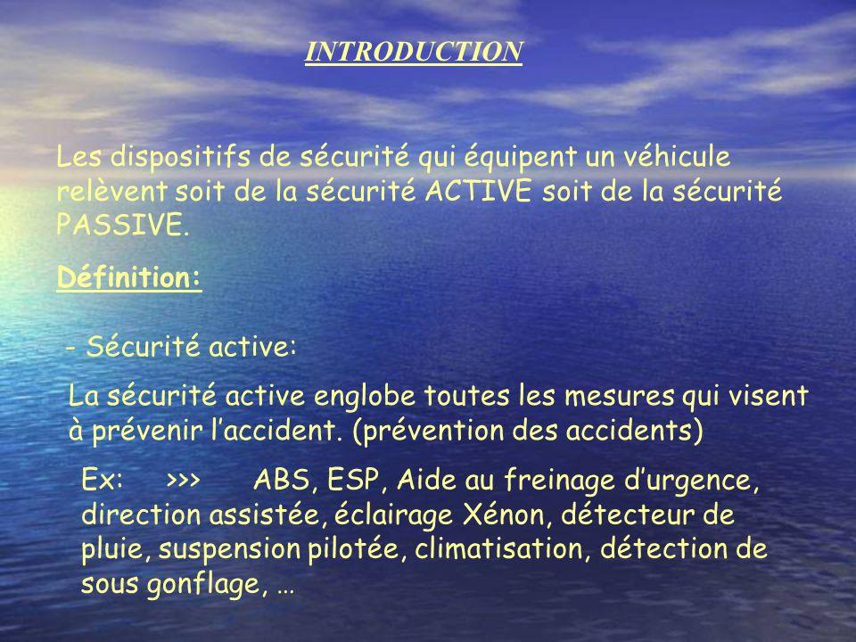 INTRODUCTION Les dispositifs de sécurité qui équipent un véhicule relèvent soit de la sécurité ACTIVE soit de la sécurité PASSIVE.