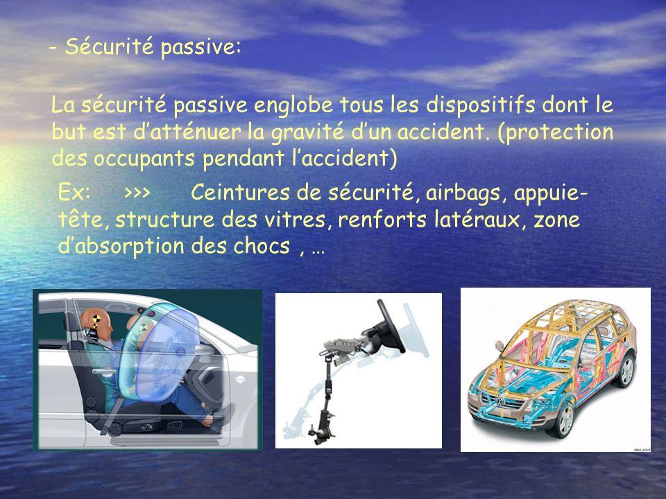 - Sécurité passive:
