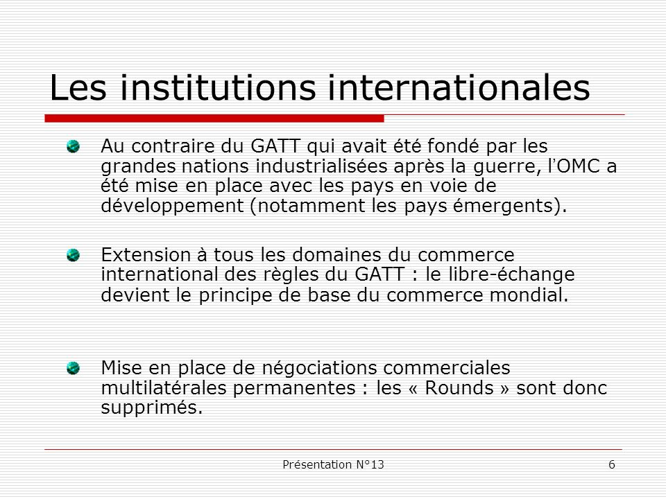 Les institutions internationales