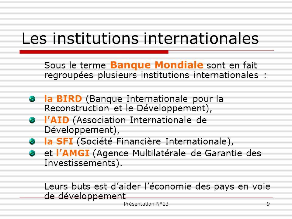 Les institutions internationales