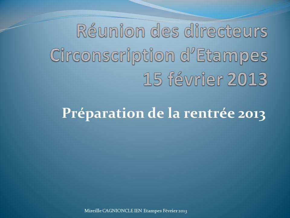 Réunion des directeurs Circonscription d'Etampes 15 février 2013