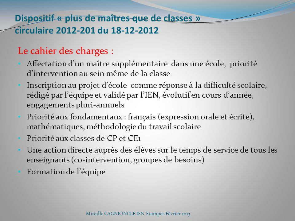 Dispositif « plus de maîtres que de classes » circulaire 2012-201 du 18-12-2012