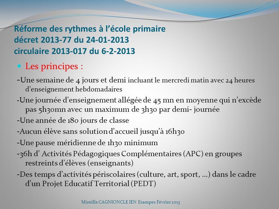 Réforme des rythmes à l'école primaire décret 2013-77 du 24-01-2013 circulaire 2013-017 du 6-2-2013