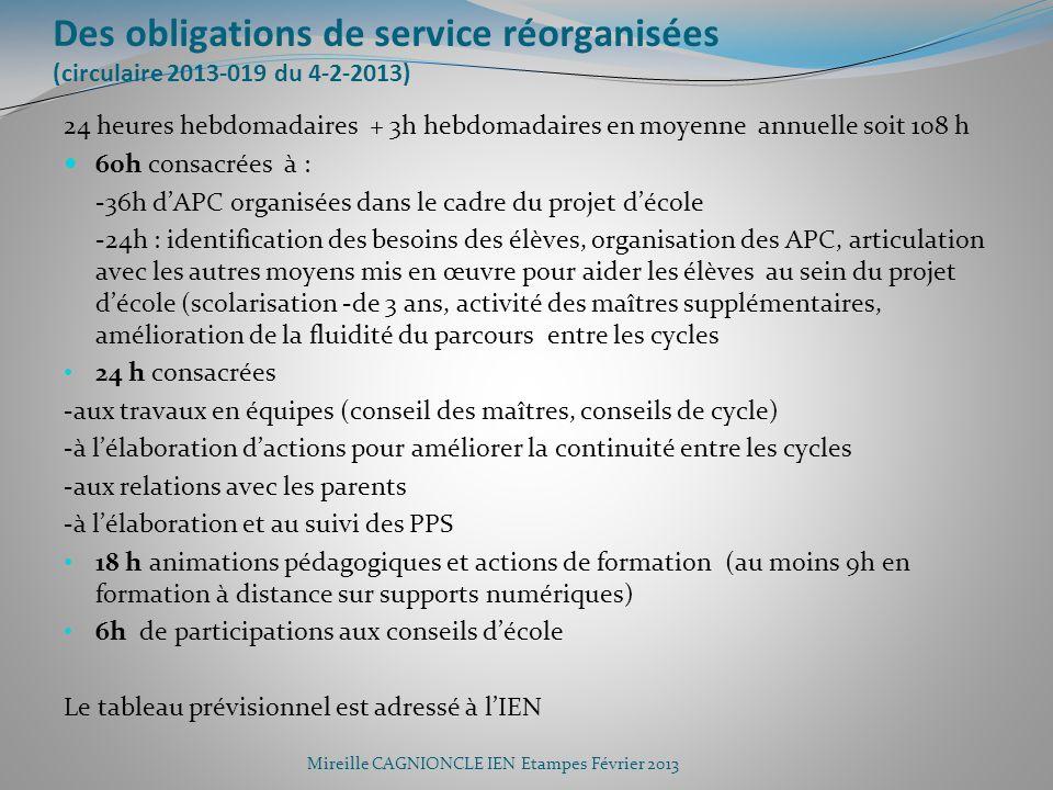 Des obligations de service réorganisées (circulaire 2013-019 du 4-2-2013)