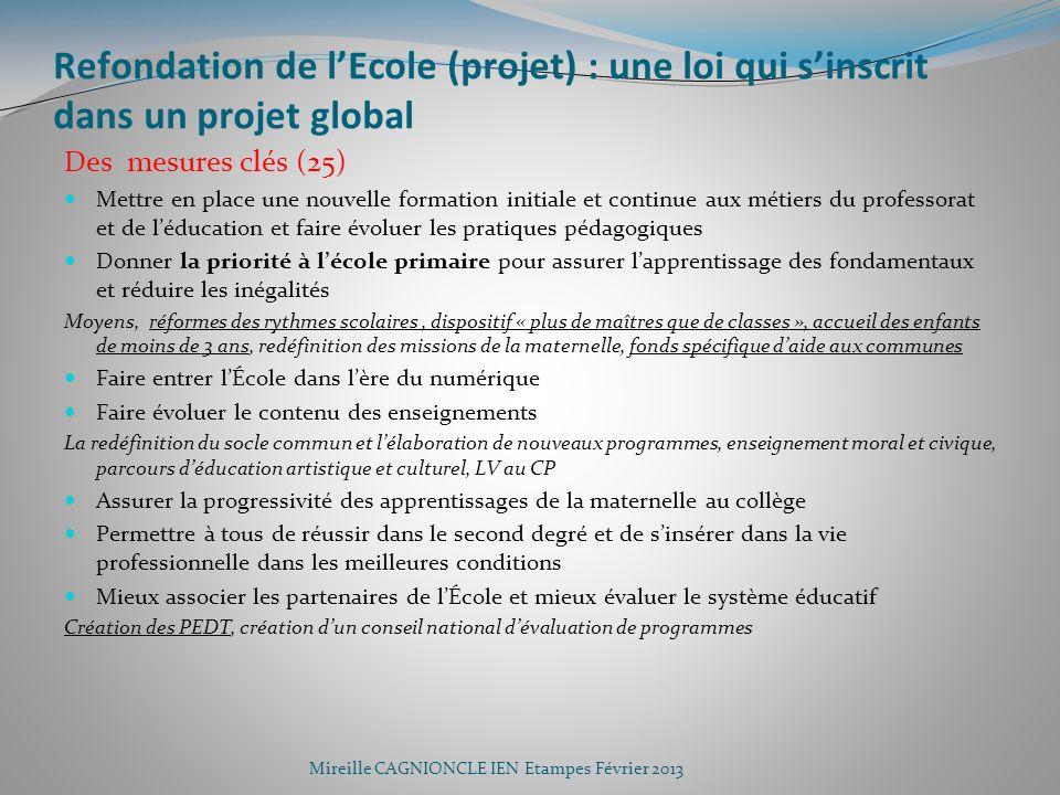 Refondation de l'Ecole (projet) : une loi qui s'inscrit dans un projet global