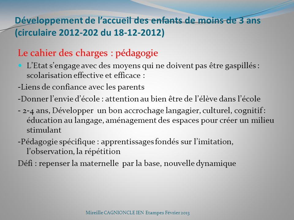 Développement de l'accueil des enfants de moins de 3 ans (circulaire 2012-202 du 18-12-2012)
