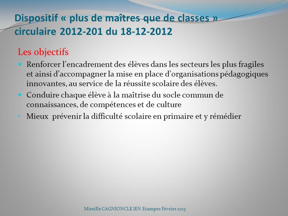 Dispositif « plus de maîtres que de classes » circulaire 2012-201 du 18-12-2012