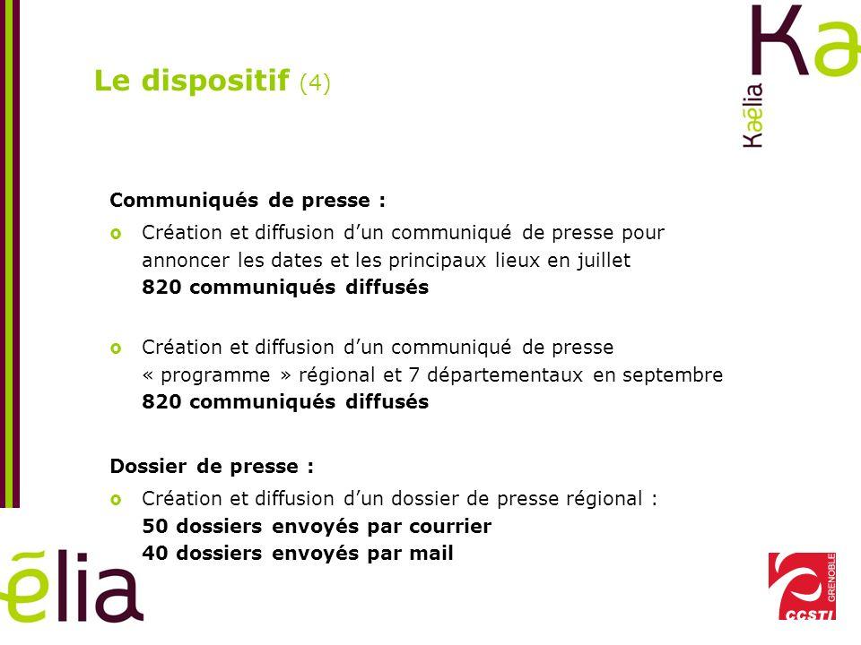 Le dispositif (4) Communiqués de presse :