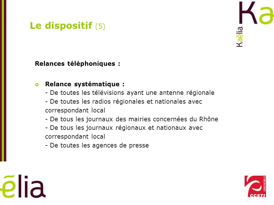 Le dispositif (5) Relances téléphoniques :