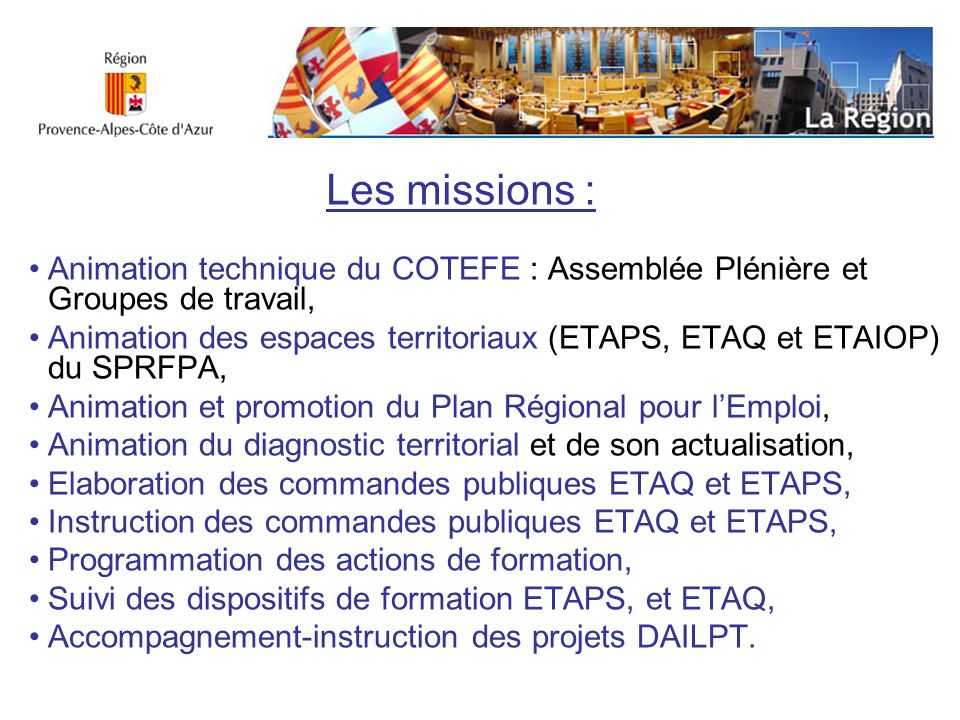 Les missions :Animation technique du COTEFE : Assemblée Plénière et Groupes de travail,