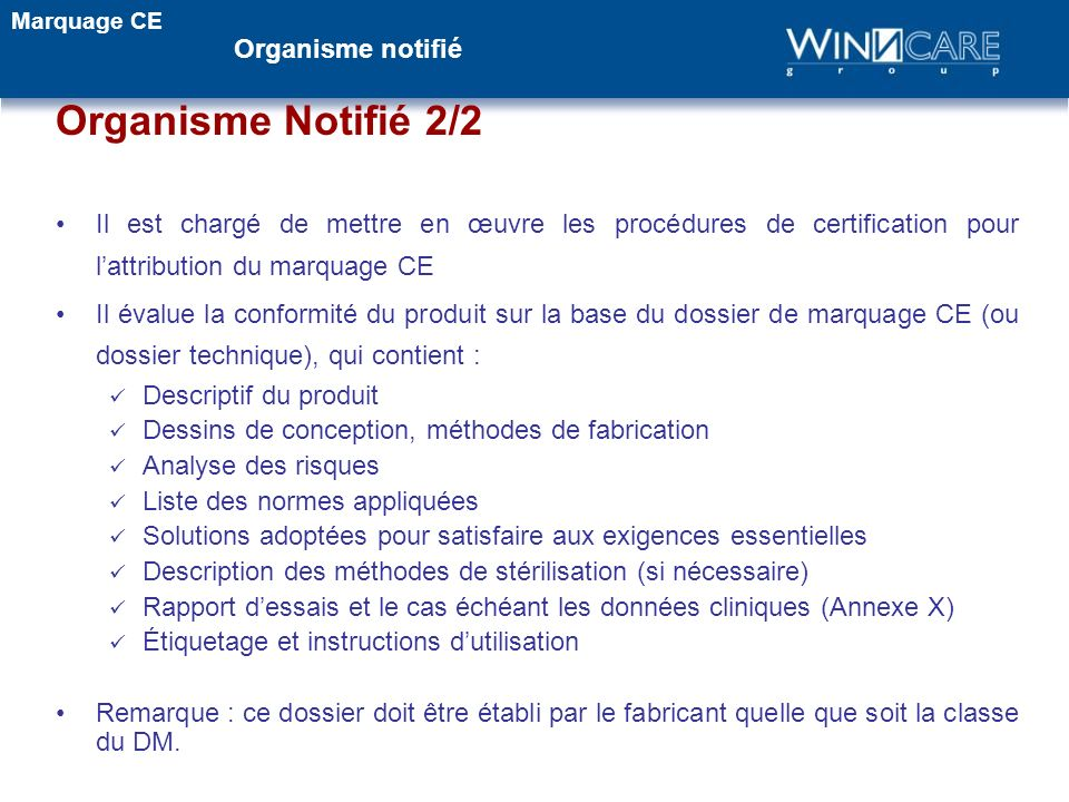 Organisme Notifié 2/2 Organisme notifié