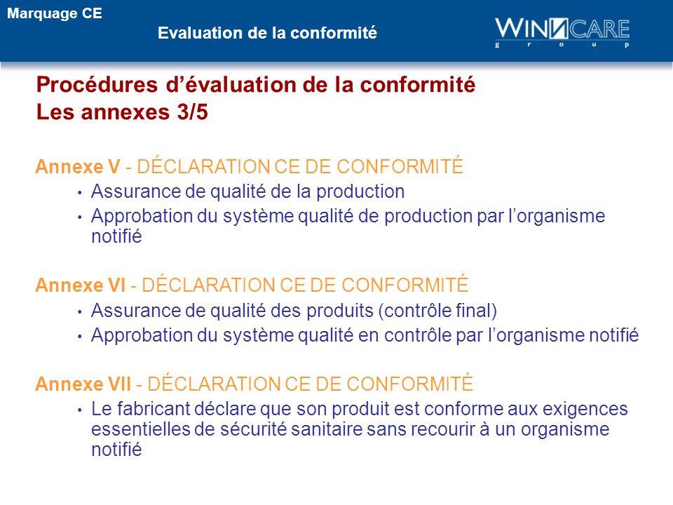 Procédures d'évaluation de la conformité Les annexes 3/5