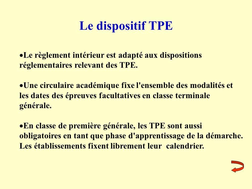 Le dispositif TPE Le règlement intérieur est adapté aux dispositions réglementaires relevant des TPE.