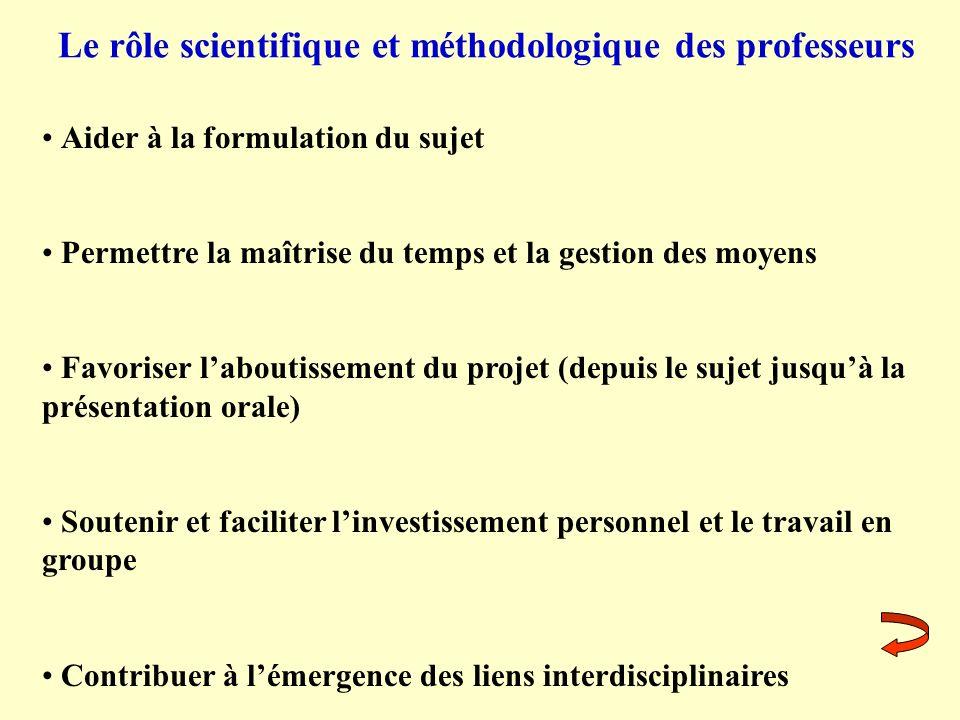 Le rôle scientifique et méthodologique des professeurs