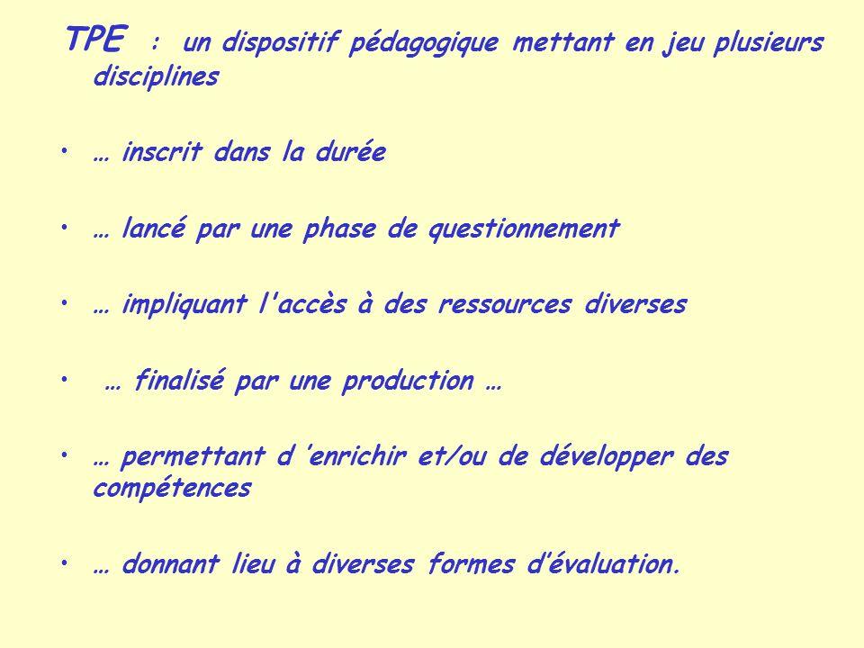 TPE : un dispositif pédagogique mettant en jeu plusieurs disciplines