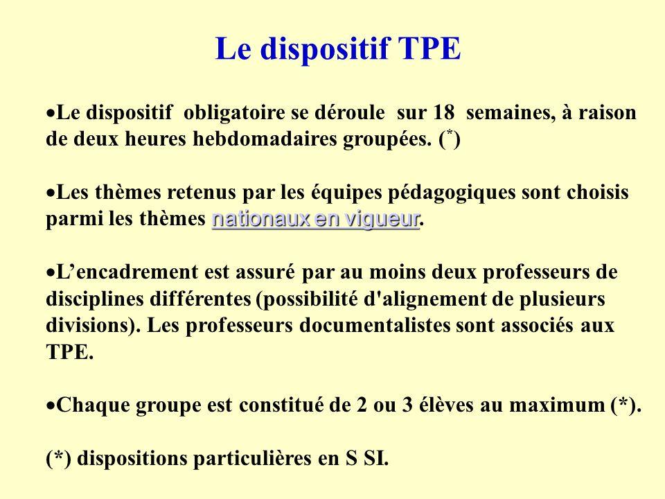 Le dispositif TPE Le dispositif obligatoire se déroule sur 18 semaines, à raison de deux heures hebdomadaires groupées. (*)